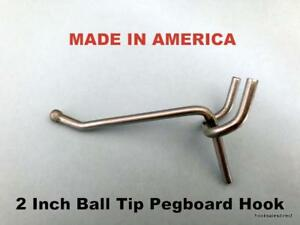 100 Pack 2 Inch All Metal Peg Hooks 1 8 To 1 4 Pegboard Slatwall Garage Kit