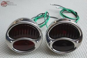 Model A Tail Lights Stainless Steel Red Glass Lens Antique Car Pickup Truck Set