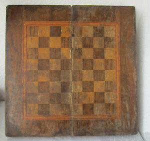 19 48cm Antique Wooden Checkerboard Game Chess Backgammon Box