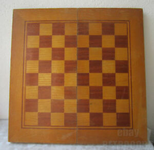 18 5 Large Antique Wooden Chess Backgammon Checkerboard Game Box Wood Inlay