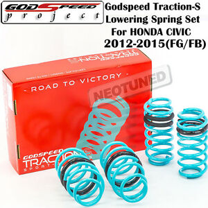 Godspeed Traction S Lowering Springs For Honda Civic Dx Lx Ex Si 2012 2015 Fg Fb