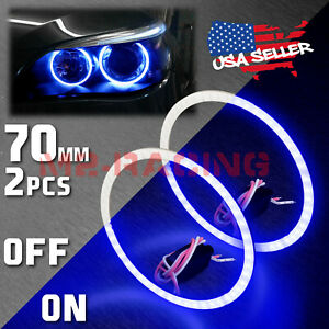 2x 70mm 2 75 Led Halo Rings Angel Eyes Hid Super Blue Headlight Fog Light