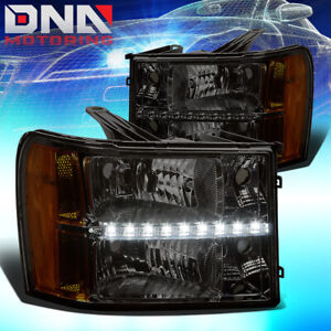 For Gmc sierra 07 14 Crysty Led Smoked Housing Headlights w Amber Corner Lights