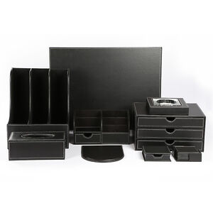 Office Desk Organizer Set T04 9pcs set Black Leather Files Pen Pencil Holder Box
