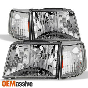 Fit 1993 1997 Ford Ranger Clear Headlights Replacement turn Signal Corner Lights