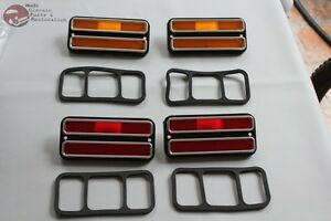 Chevy Gmc Pickup Truck Front Rear Side Marker Lamp Set Amber Red Chrome Trim New