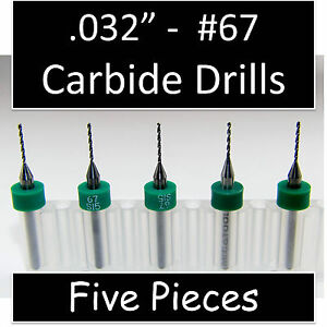032 0 81mm 67 Five Carbide Drill Bits Models Hobby Pcb Cnc Dremel R s