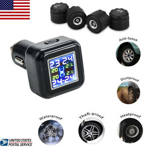 Tpms Tire Pressure Monitor System Auto Car Cigarette Lighter 4 External Sensors