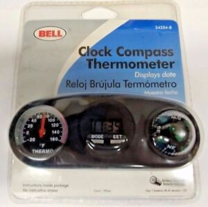 New Bell Automotive 34204 8 Clock Compass And Thermometer Reversible Mount