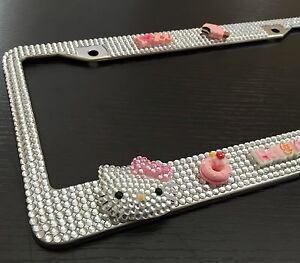 Cute Hello Kitty Diamond Bling Rhinestone Metal License Plate Frame For Any Car