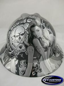 Silver Bad Boy Club Full Brim New Custom Msa V gard Hard Hat W fastrac Ratchet