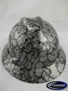 New Custom Msa V gard full Brim Hard Hat W fastrac Silver Insanity Pattern