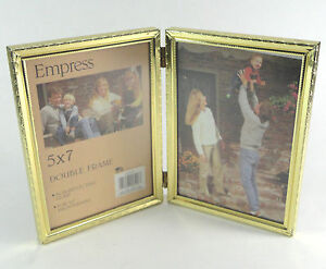 Vintage Acme Double Photo Frame Hinged Gold Colored Metal 5 X 7 Non Glare