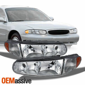 Fit 97 05 Buick Century Regal Replacement Headlights Headlamps L R 1997 2005