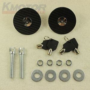 Universal Racing Carbon Fiber Mount Bonnet Hood Latch Pin Key Locking Kit New