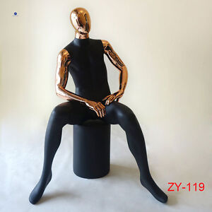 Ship To Worldwide Gold Head And Arms Black Fiberglass Male Sitting Mannequin