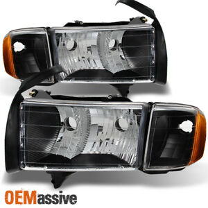 Fit 1999 2002 Dodge Ram 1500 Pickup Sport Black Headlights Corner Replacement
