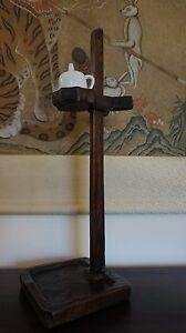 Very Fine Rare Korean Joseon Dynasty Wood Oil Lamp Stand With Oil Container
