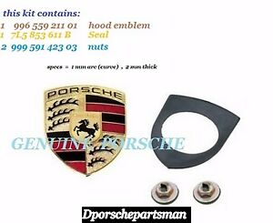 Porsche 911 Boxster Cayenne Cayman Hood Emblem Kit Genuine New Ns