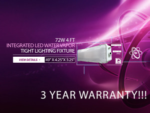 72w 4 Ft Vapor Water Tight Hardwired Led Fixture 6500k Outdoor Shop Light