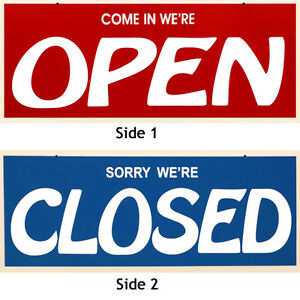 New Double Sided Red blue Open closed Sign 7 X 19 Incl Suction Cups W hooks