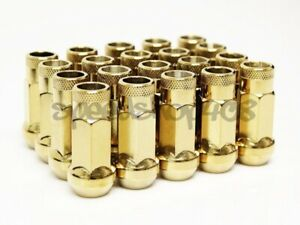 Z Racing Gold Steel 20pcs Lug Nuts 12x1 5mm Open Extended 17mm Key Tuner