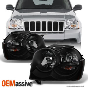 Fit 05 07 Jeep Grand Cherokee Black Smoke Headlights Front Lamps Replacement