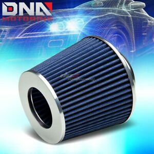 2 5 Cold Short Ram Blue Air Intake Dry Cone Cotton Gauze Rubber Filter Clamp