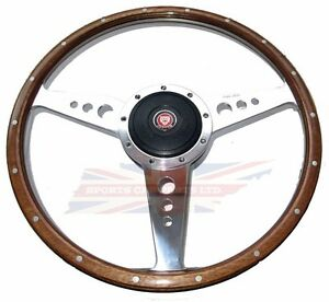 New 13 Wood Steering Wheel W Adaptor Hub Jaguar Xke E Type Moto Lita