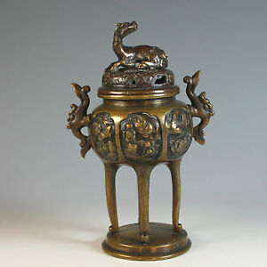Antique Chinese Bronze Censer Brule Parfum With Birds And Foo Lion