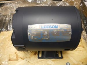 New 101206 00 Leeson 1 3hp Electric Motor 1725rpm J48y Frame Single Phase