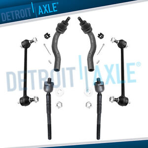 New 6pc Kit All 4 Front Inner Outer Tie Rod Ends And 2 Sway Bar End Links
