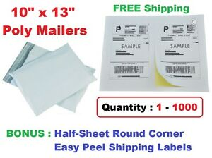 Combo 1 1000 10x13 Poly Mailers Plastic Envelopes Mailing Bags Shipping Labels