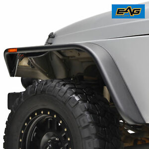 Eag Fender Flares Abs 4pcs Flat Style With Side Led For 97 06 Jeep Wrangler Tj