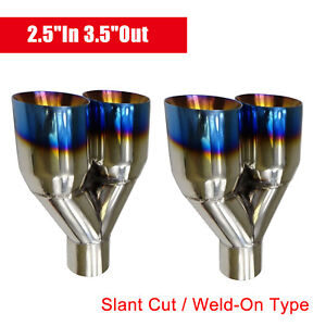 2x Blue Burnt Exhaust Duo Slant Tip Polished Stainless Steel 2 5 In 3 5 Out