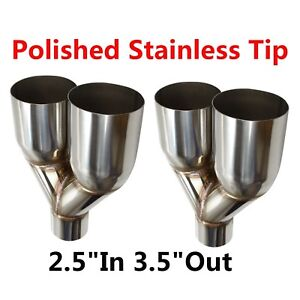 2x Sliver Muffler Dual Exhaust Pipe Tip Polished Stainless Steel 2 5 in 3 5 out