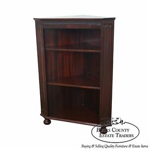 Quality Mahogany Corner Open Bookcase W Turned Feet