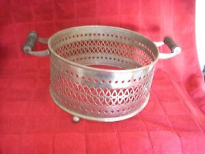 Vintage Footed Silverplate Casserole Serving Dish Holder Carrier W Wood Handles