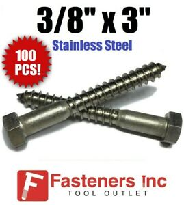 qty 100 3 8 X 3 Lag Screws Bolt Hex Head Stainless Steel 18 8 304