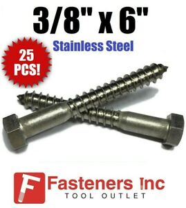qty 25 3 8 X 6 Lag Screws Bolt Hex Head Stainless Steel 18 8 304