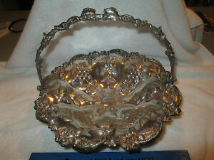 C1860s Victorian Silver Repousse Brides Basket Bread Fruit Grapes 12 Plate Foot