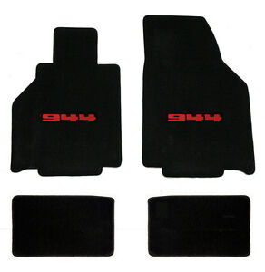 New 1986 1991 Black Floor Mats Porsche 944 With Red 944 Embroidered Logo 4 Set