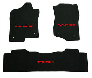 New Black Floor Mats 2007 2013 Chevy Avalanche With Embroidered Logo Red Set 3