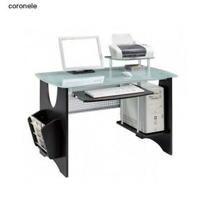 Glass Computer Desk Furniture Tempered Table Keyboard Modern Contemporary Office