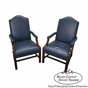 Quality Pair Of Blue Leather Chippendale Style Office Arm Chairs B