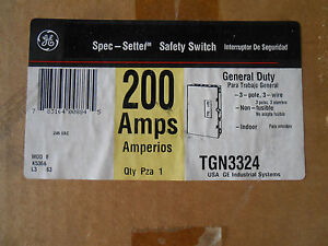 Ge Tgn3324 Safety Switch 200 Amp 240 Volt Disconnect Non Fused Indoor