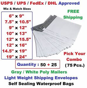 Pick Your Combo 75 50 25 Poly Mailers Shipping Envelopes Plastic Mailing Bags