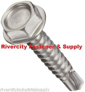 1000 Hex Washer Head 8 X 1 Self drilling Tek Screw 2 Point Stainless Steel