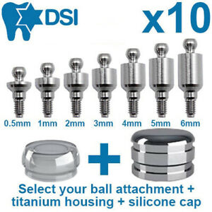 10x Dental Implant Ball Attachment Kit Silicone Cap Titanium Housing