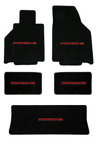 New 1986 1991 Black Floor Mats Porsche 944 With Red Embroidered Logo All 5 Mats